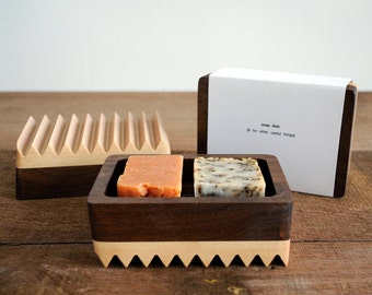 Wooden Soap Dish made with Walnut and Maple, Reversible