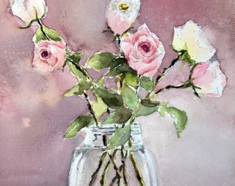 Pink Roses Bouquet pastel floral Art print from  original watercolor painting vase of flowers 11 x 15