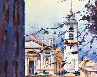 Church France Provence Nice Baroque watercolor painting France Riviera