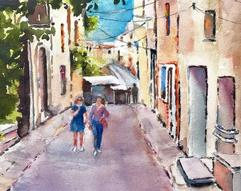 Watercolor painting Art Print  Provence Bonnieux Luberon French town