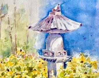 August Blooms garden floral daisy watercolor painting original summer art 8 x 12