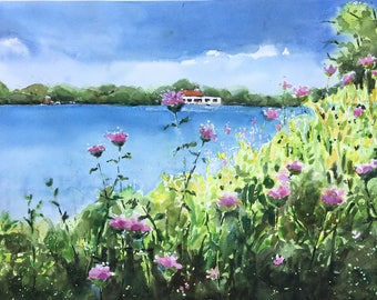 Minnesota, Land of Lakes Painting watercolor original Como Park Pavilion