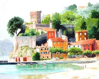 Italy watercolor print: Cinque Terra coastal village