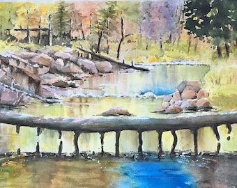 Fishing on the Sucker River panoramic landscape 11 x 20 watercolor painting original  Minnesota canoeing