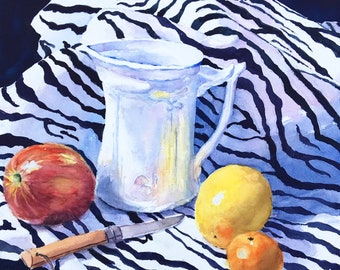 """Still Life with Opinel watercolor print table art knife fruit vase 15 x 17"""""""