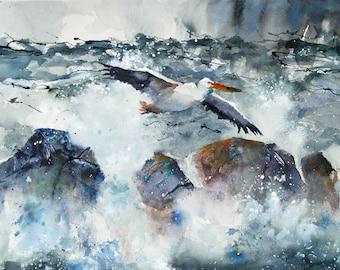 Pelican flying storm painting ocean bird in flight watercolor fine art print