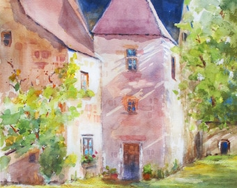 Spring Green French Chateau watercolor original ART PRINT castle  France