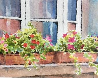 Flower pots window France watercolor