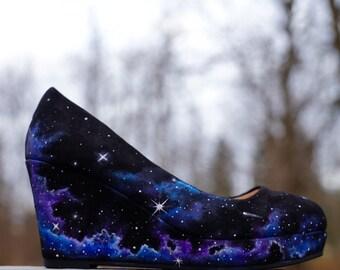 49346494cee2 Custom Hand Painted Galaxy Space Heels