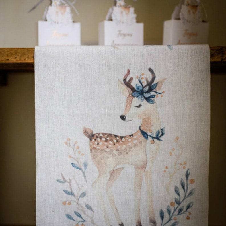 Linen DEER Raindeer Print Table Runner Table Cloth Party Decor 5 Meters Long Material Romantic