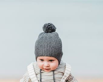 Cotton merino Baby hat for boys and girls , Pompon baby hat , sizes: Preemie up to 12 m.Dark Gray baby hat