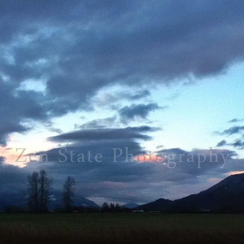 Landscape Photo. Dusk in Blue Photograph. Cloud Photography. image 0