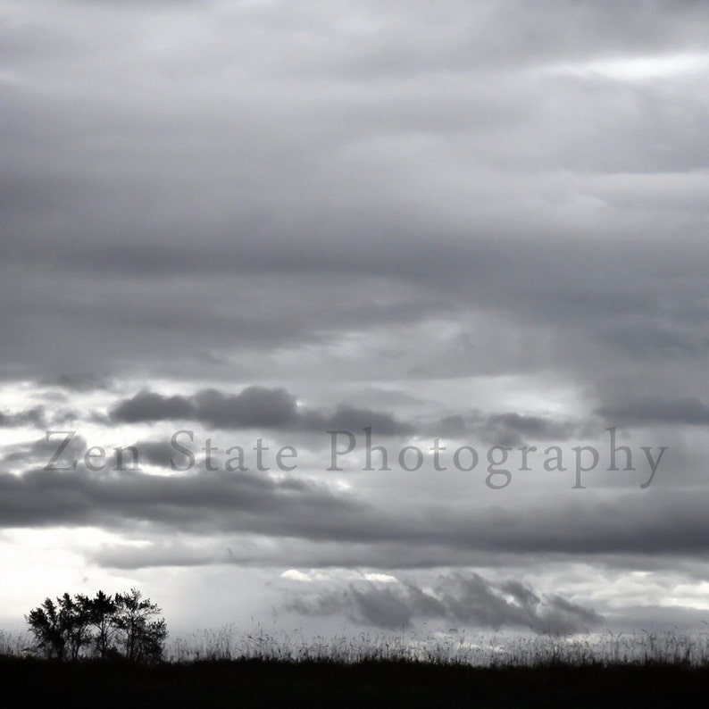 Silver Skies Landscape Print Wall Decor. Gray Clouds Print. image 0