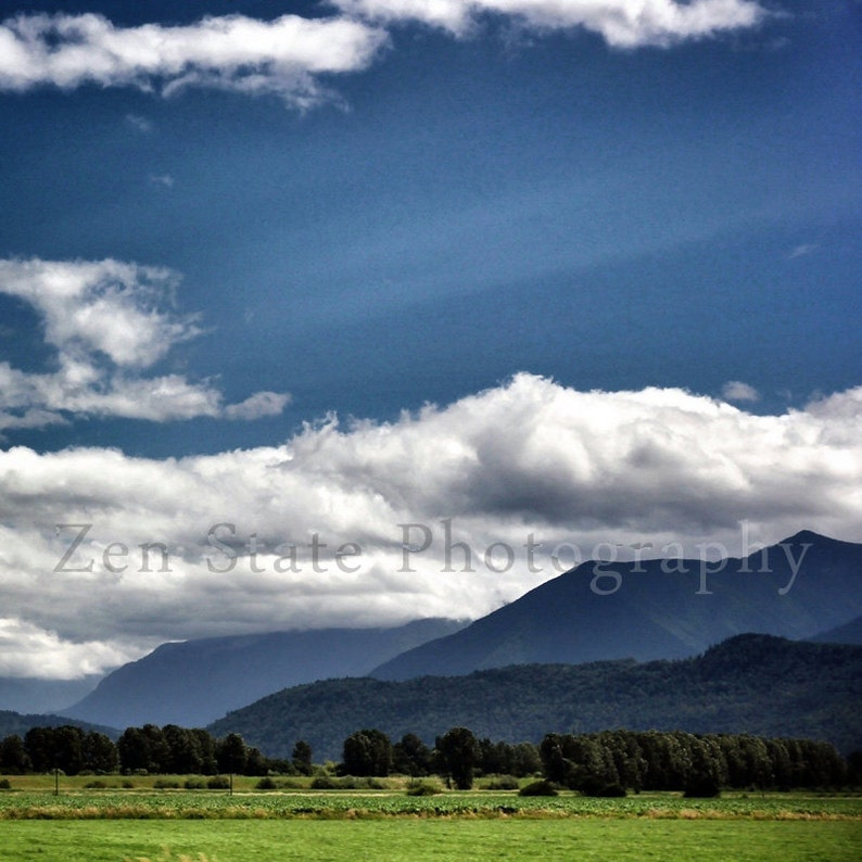 Summer Landscape Photograph. Blue Green Art Print. Cloud image 0
