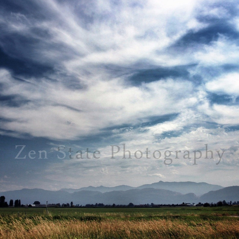 Blue and White Country Print. Summer Sky Landscape Photograph. image 0