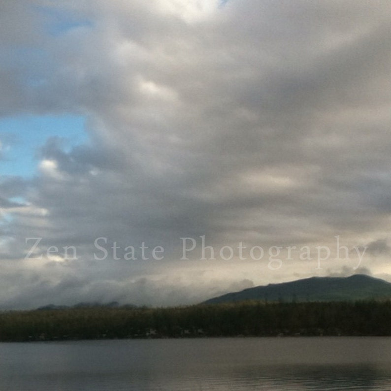 Lake and Mountains Landscape Print. Cloud Photography. Wall image 0