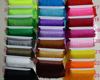 "FREE SHIPPING 10meters 15cm 6"" Long Latin Dress Tassel Fringe 23 Colors Available"
