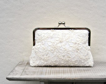Ivory Deluxe Party or Event Clutch Bag Beautiful Classic Bridal Lace Clutch Bag Bridal Bag Wedding Bag Champagne