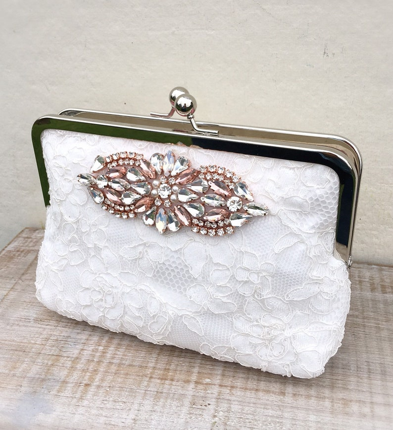 Ivory rose gold and blush clutch bag ivory lace wedding  471881f28c1ac
