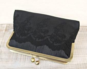 Black clutch bag, black evening clutch, black bridal clutch, black lace clutch, black clutch purse, black lace purse, constance handcrafted