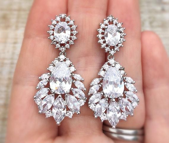 wedding jewellery zirconia drop earrings wedding earrings bridesmaid earrings chandelier earrings Bridal earrings great gatsby