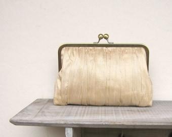 Gold clutch, gold bridal clutch bag, gold wedding purse, silk clutch, pleated clutch, bridesmaid clutch, bridesmaid gift, uk, gold wedding