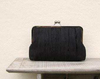 Black clutch, black bridal clutch,  black evening clutch bag, mother of the bride clutch, pleated clutch, black clutch purse, black purse