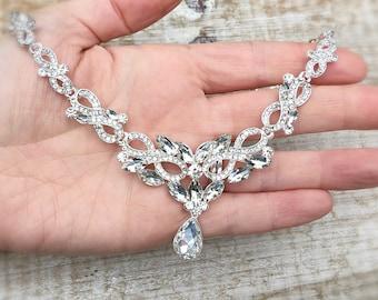 Bridal necklace, wedding necklace, rhinestone necklace, bridal necklace silver, bridal jewellery, Crystal necklace, statement necklace