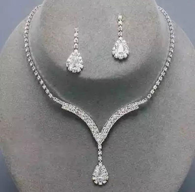 wedding jewellery set bridal jewellery set wedding necklace and earring set Bridal necklace and earring set crystal jewelry set