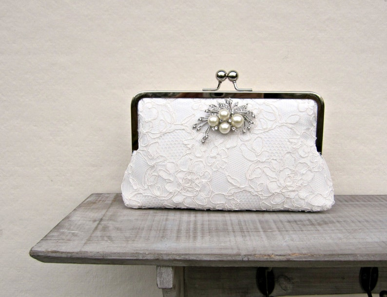 Ivory lace bridal clutch bag white wedding clutch pearl and  5233e29ff4212