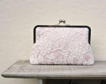 Blush clutch, blush bridal clutch, lace wedding clutch, blush bridesmaid clutch, pink lace purse, pink clutch, blush wedding, uk clutch