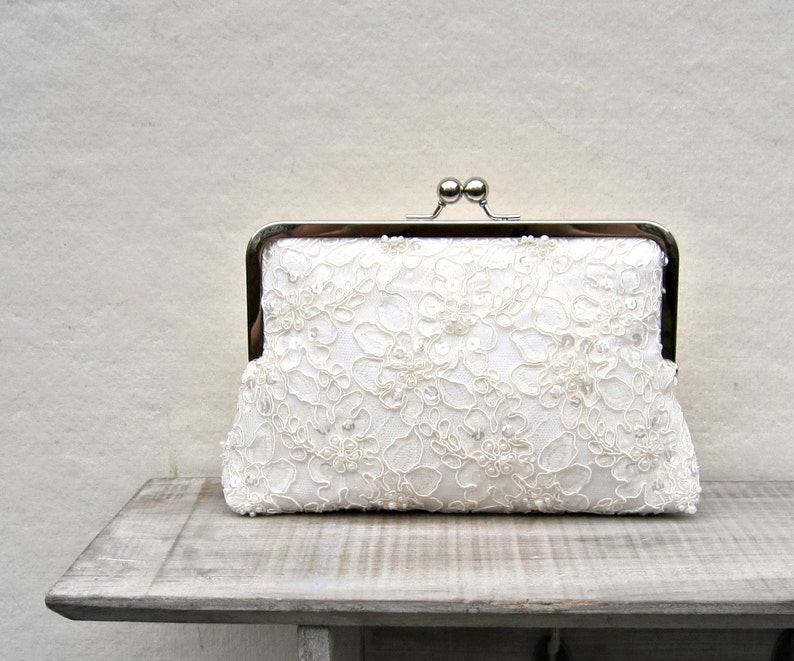 Lace bridal clutch bag ivory pearl and sequin wedding clutch