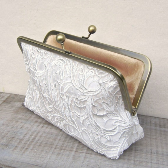 Ivory lace clutch off white bridal clutch rustic clutch art  babc60e066d02