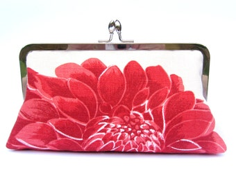 Bridal clutch bag, wedding clutch, bridesmaid clutch, red floral evening clutch, clutch purse, bridal purse, wedding accessory