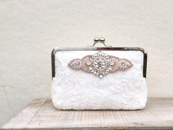 Ivory clutch bag with rose gold detailing ivory lace wedding  a3939ad79b5f6