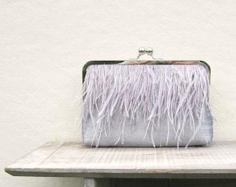 Ostrich feather clutch, silver bridal clutch, grey wedding purse, great gatsby, silver wedding, grey bridesmaid clutch, 1920s wedding, uk