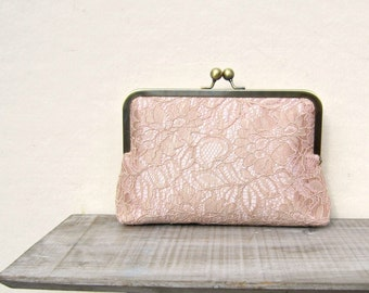 Gold and blush lace clutch, lace bridal clutch, gold clutch, blush clutch, blush purse, gold bridesmaid clutch, bridesmaid gift. pink purse