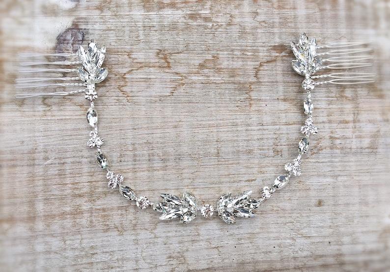 bridal hair band silver hair piece silver bridal headband wedding headpiece hair comb Bridal hair accessories bridal headpiece