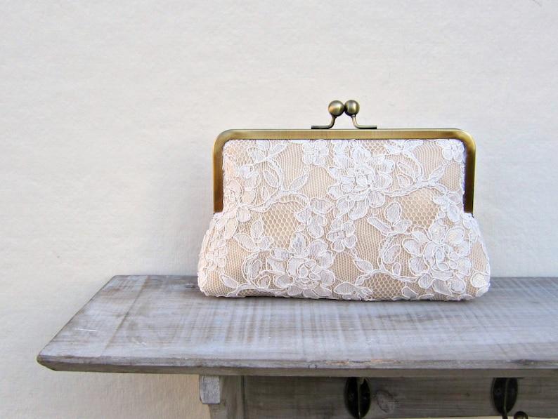 7389a65fde Champagne lace clutch lace bridal clutch gold clutch gold | Etsy