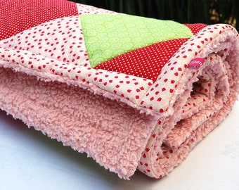 Patchwork blanket with teddy back