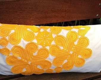 Pillow with crochet application
