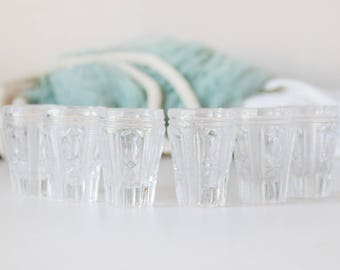 Set of six_transparent glasses_shot drink glasses_clear pure_small sturdy glasses_retro vintage barware_vodka cognac whiskey_european bottom