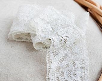White bridal lace_wedding trim_retro lace ribbon_vintage hem_floral pattern_4.5 cm 1.8'' wide_rayon hem lace_rustic lace tape_wedding lace