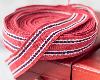 Pure cotton trim_red blue white_traditional folk trim_length 6.4 m 7 yards_width 1.8 cm 0.7''_retro embroidered ribbon_vintage sewing supply