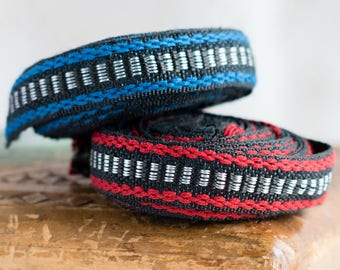 Vintage cotton trim_red blue black white_traditional pattern_thin 15 mm wide_4 and 2.7 m long_retro embroidered ribbon_multipurpose DIY kit