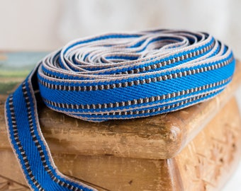 Vintage trim_dark blue brown_minimalist pattern_2 cm wide_8 m long_retro haberdashery_upholstery tape_mid century 1970s_multipurpose DIY kit