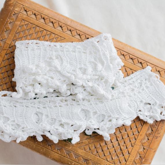 Vintage blanc en dentelle, ruban trim, à crocheté à trim, la main, 6 cm 2.4'' large, bord triangle, deux pièces, hors ourlet blanc, bricolage polyvalent, avec des boutons 6af629