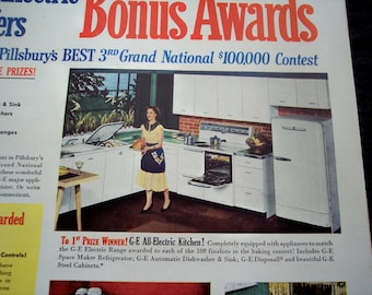 1951 Household AD General Electric Kitchen Appliances Pillsburys Contest 50s Style Original Advertisement
