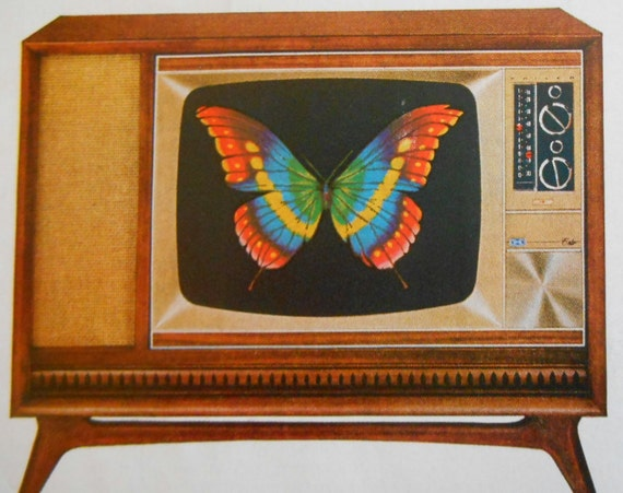1965 TV AD Philco Color Butterfly Art Original