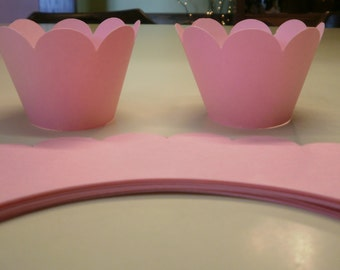 Scalloped Edge Pink Cupcake Wrappers